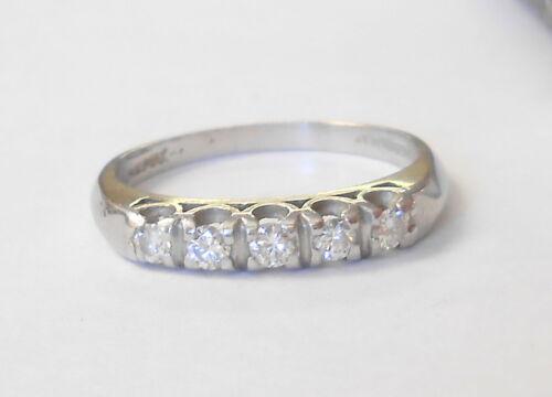 Platinum 5 Diamond VS1 Wedding Band 3mm Ring Size 6.5 Vintage