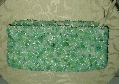 BANANA REPUBLIC GREEN HAND BEADED FOLD-OVER CLUTCH PURSE  Beaded Fold Over Clutch