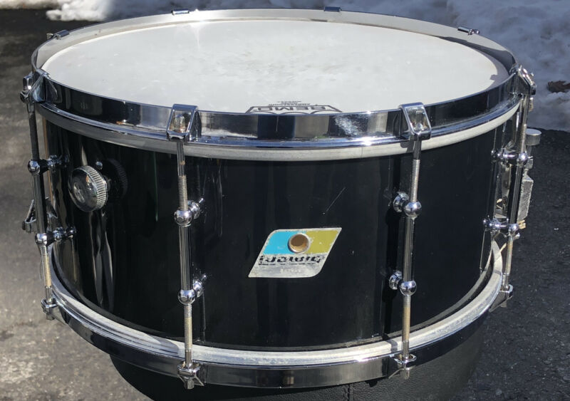 "Vintage Ludwig Snare Drum Black Wood 14 x 6 1/2"" Olive Black Badge 1970s"