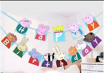Peppa Wutz Girlande Geburtstag Happy Birthday Tortenopper Figur Peppa Pig Muffin ()