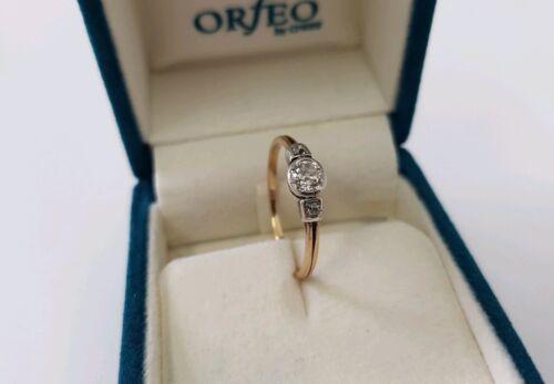 585 Gelbgold Solitär Art Deco DiamantBrillant Ring Altschliff 0,46ct.
