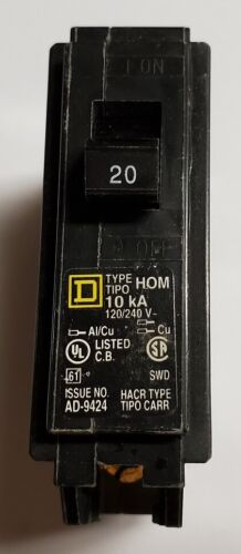 Square D Schneider Electric HOM120CP Homeline 20 Amp Single-Pole Circuit Breaker