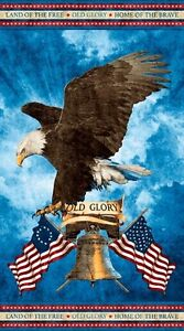 Stonehenge Old Glory Land of the Free Cotton Quilt fabric Eagle Panel 24x44
