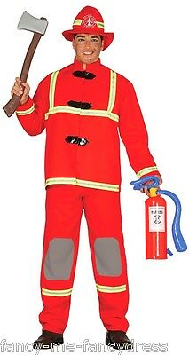 Mens Red Fireman Firefighter Job Uniform Fancy Dress Costume Outfit Size Large - Mens Fireman Outfit