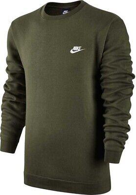 Mens New Nike Crew Logo Fleece Sweatshirt Jumper Pullover Cotton Sweater - Green