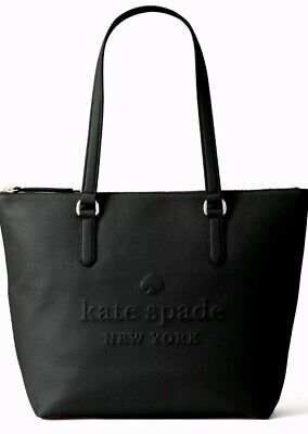 Kate Spade Larchmont Avenue Logo Penny Black Leather Top Zip Tote WKRU5804 Avenue Top Zip Tote
