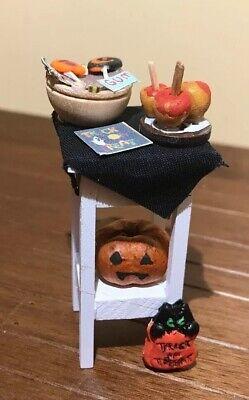 Halloween Dollhouse Miniature Table - Candy Bowl, Pumpkin, Carmel Apple Lot