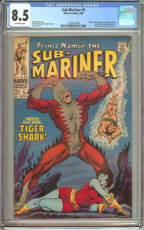 SUB-MARINER #5 CGC 8.5 OFF WHITE PAGES 1968
