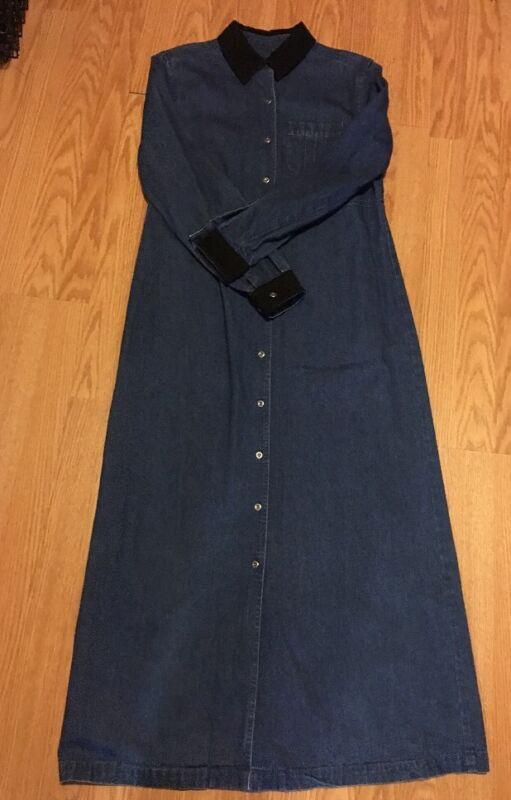 Talbots Womens Blue Denim Dress Long Sleeves Cotton Full Button Down Front Maxi