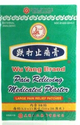 Wu Yang Large Pain Relieving Medicated Plaster Patches 10 count ~ Unisex