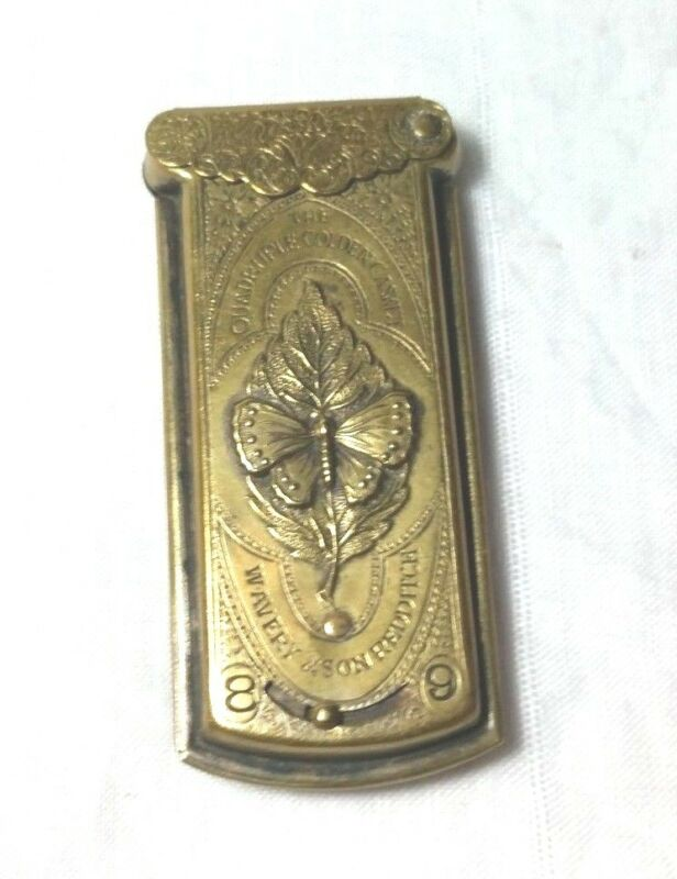 rare Avery BUTTERFLY Redditch the QUADRUPLE GOLDEN QUAD NEEDLE CASE,