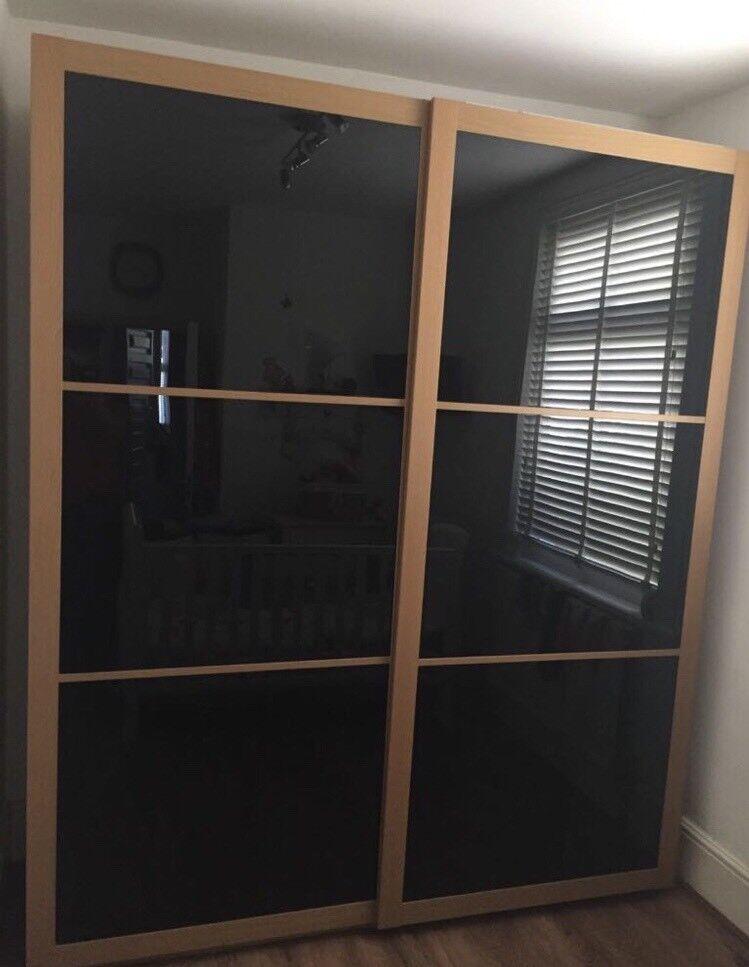 Ikea Pax Double Sliding Oak Wardrobe With Black Glass Doors Great