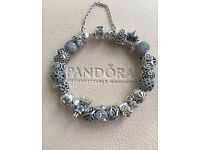 Authentic Pandora full fairytale theme 19cm silver and 14ct gold charm bracelet £1160