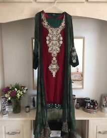 Bottle green and Maroon Asian outfit