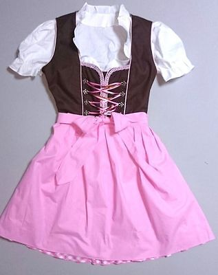 Одежда Dirndls German,Trachten,May Festival,Oktoberfest,Dirndl Dress,3-pc.Sz.22,PINK,Brown,USA