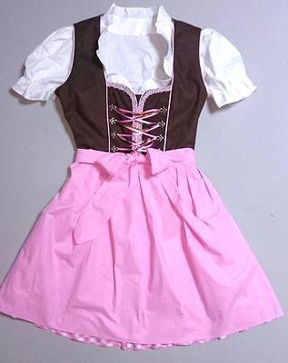 Одежда Dirndls German,Trachten,May Festival,Oktoberfest,Dirndl Dress,3-pc.Sz.18,PINK,Brown,USA