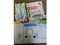 Boy car themed stickers and cot bumper