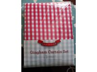 Printed gingham curtains kitchen