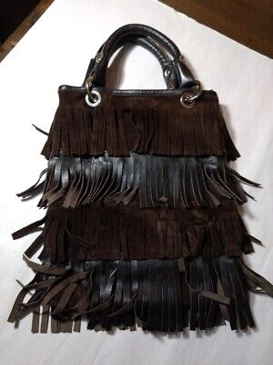 Innue Purse Handbag Purse Pocketbook Brown Leather fringe Made in Italy