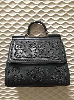 New DOLCE GABBANA LARGE Miss Sicily GREEN Floral Laser Cut Out Bag Handbag Purse