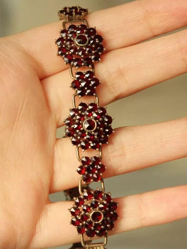 HALLMARKED 830 Antique Bohemian Garnet Cluster bracelet Rose Cut Vintage