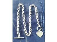 Solid silver T-bar, and heart, necklace.