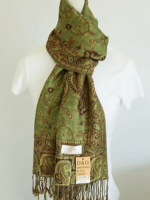 NEW DG Pashmina Scarf Shawl Wrap Paisley Floral Green Brown cashmere silk Style