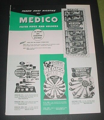 1957 MEDICO FILTER PIPES HOLDERS PRICE GUIDE AD CREST SPORTSMAN DOUBLE DRI NICE