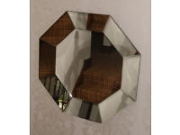 Large Octagonal Tray Effect Wall Hanging Mirror - 90cm - All Mirrors Bevelled - VGC - 2 Loop Fixing