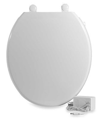 Heated White Toilet Seat Fun Comfort Standard Round Bowl Easy Install Hinges New