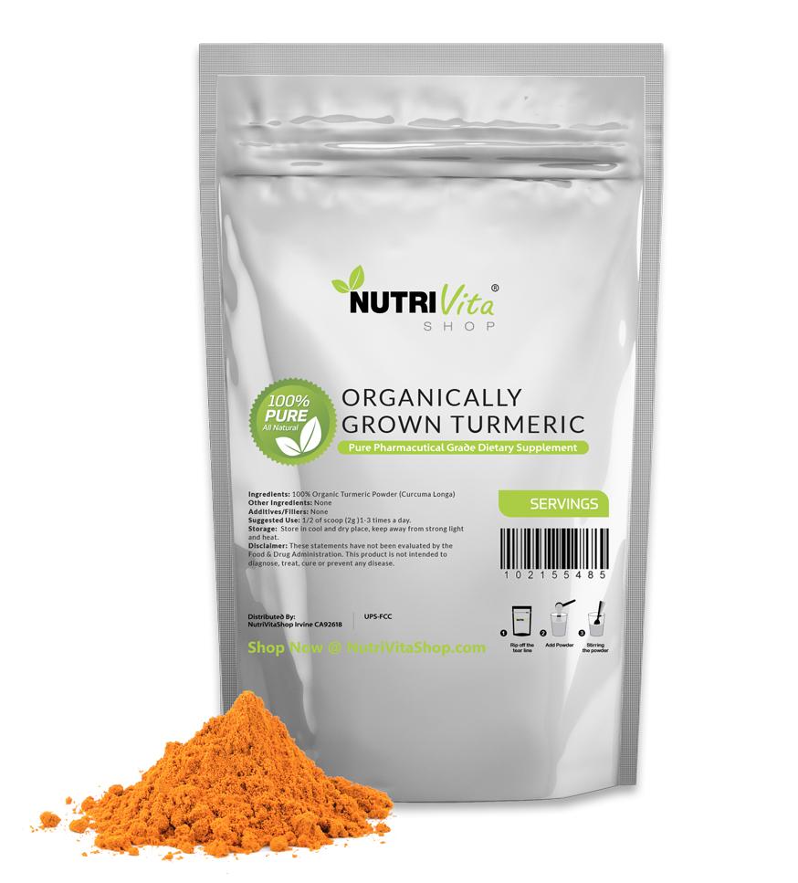 NVS 100% Pure Organic Turmeric Root Powder (Curcuma Longa) Vegan nonGMO USA
