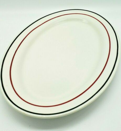 "Vintage IROQUOIS China Restaurant Ware 13"" Oval Platter RARE Red & Black Stripe"