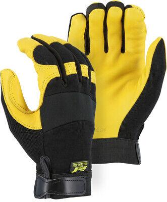 Reinforced POLICE-MILITARY TACTICAL-Mechanics Deerskin Leather Gloves-2XL Golden Eagle Mechanics Gloves