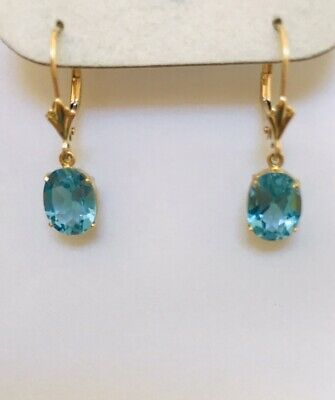 14K Yellow Gold Dangle Lever Back Earring With Natural Oval Topaz 1.90 Grams