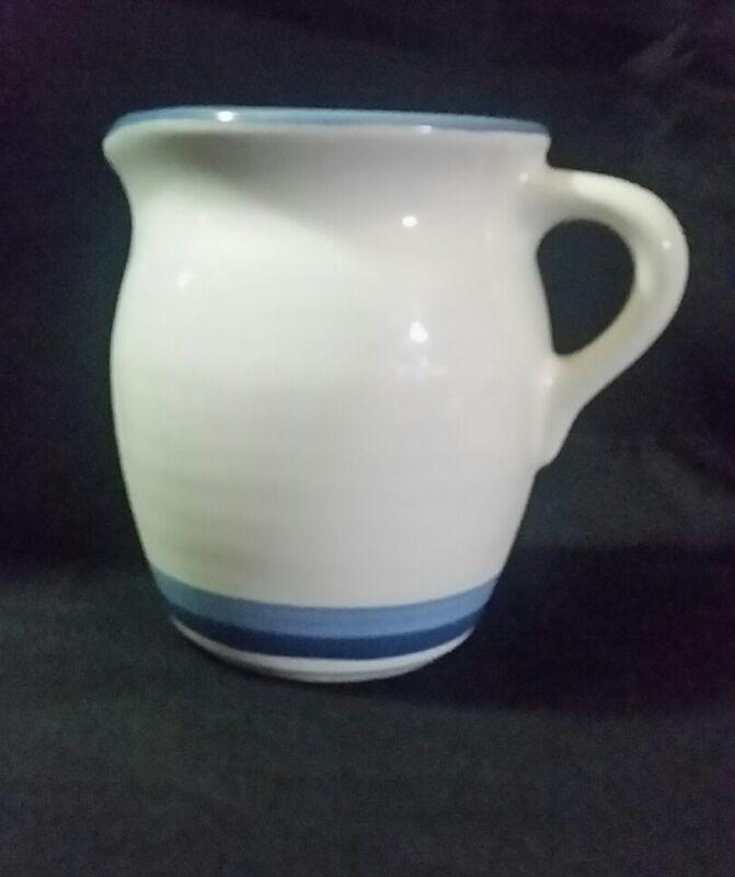 """PFALTZGRAFF DENIM Stoneware Creamer New 4.25""""H White with blue stripes"""