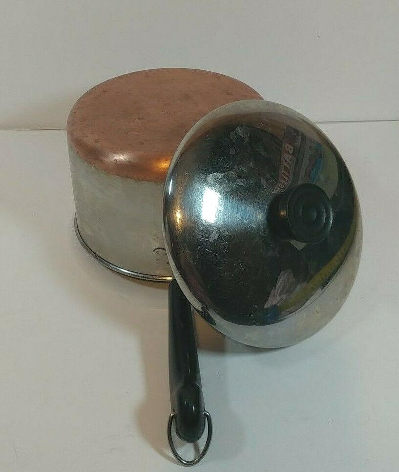 Vintage 1801 Revere Ware 3 QT Quart Sauce Pan Pot Copper Clad Bottom With Lid IL - $24.95