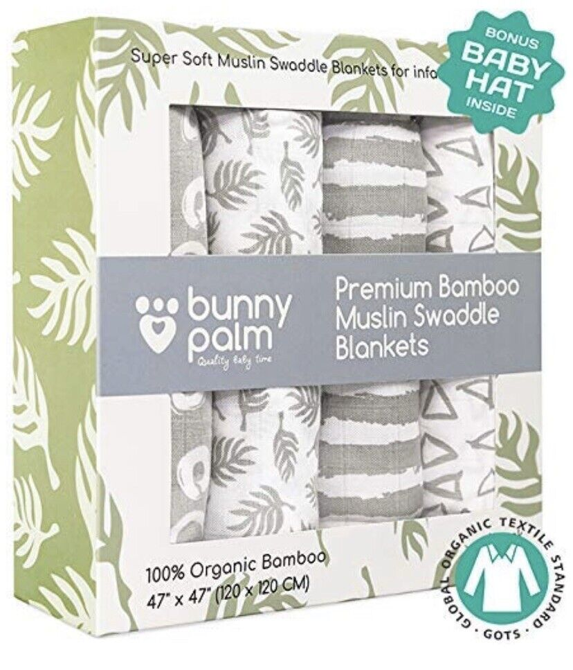 Muslin Swaddle Blankets, Unisex Organic Bamboo for Baby Set