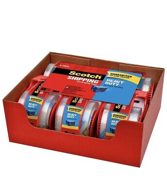 Scotch Shipping Packaging Tape Heavy Duty 6 Pack Dispenser 3m Professional Clear