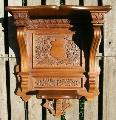 A RECLAIMED SCOTTISH CARVED WOODEN OAK GOTHIC CHURCH WALL BRACKET CLOCK SHELF