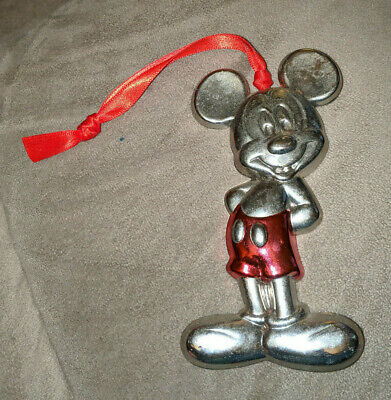 DISNEY MICKEY MOUSE SILVER TONED METAL CUT OUT CHRISTMAS ORNAMENT RARE HTF OLD - Mickey Mouse Cut Out