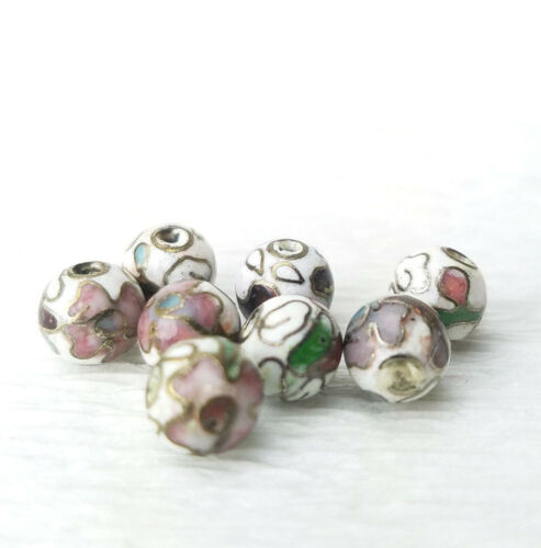 Vintage Tiny White Pink Mixed Color Flowers Cloisonne Chinese Enamel 6mm 8Beads