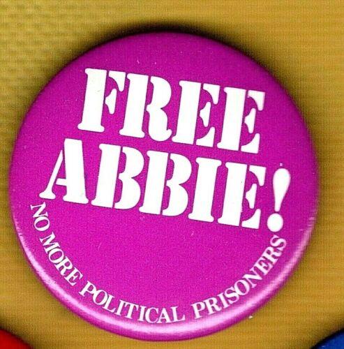 FREE ABBIE! No More Political Prisoners.1980 Abbie Hoffman Chicago Seven Button