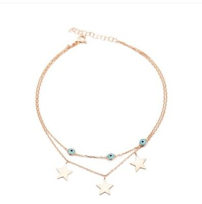 Sterling Silver 925 Stars And Evileye Double Chain Anklet In Rose Gold Plating