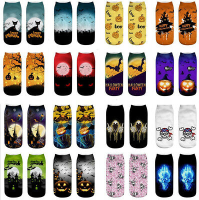 Unisex Halloween Cat Socks Cotton 3D Printed Animal Low Cut Ankle Sock 1 Pair