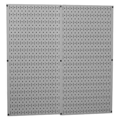 Pegboard Garage Tools Wall Panel Organizer Shelf Gray Metal Set Of 2
