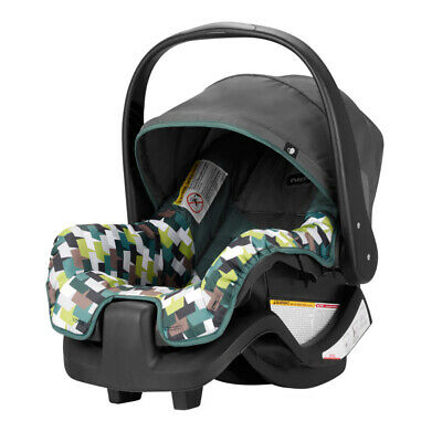 INFANT BABY CAR SEAT with Handle Pivoting Canopy Lightweight Green