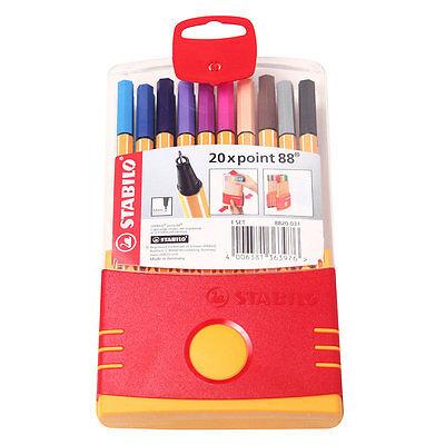 Stabilo Point 88 Fineliner 0.4mm Marker Pen Rollerball Pen 20 Color Assorted Set