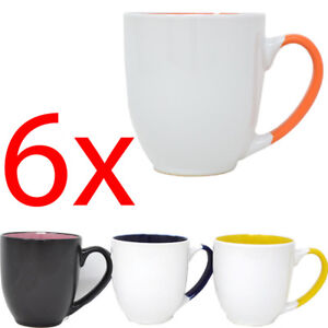 SET OF 6 JUMBO COFFEE TEA DRINKING MUG CUP KITCHEN GIFT CERAMIC 11CM LARGE NEW
