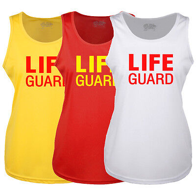 Ladies Life Guard Yellow Red White Racer Back Vest - Fancy Dress Lifeguard - Red Racer Kostüm