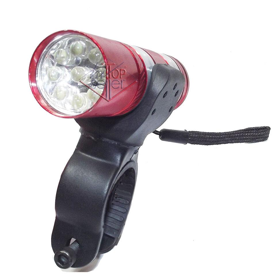 LUCE ANTERIORE BICI 9 LED TORCIA TASCABILE LAMPADA SUPPORTO BICICLETTA CICLISMO
